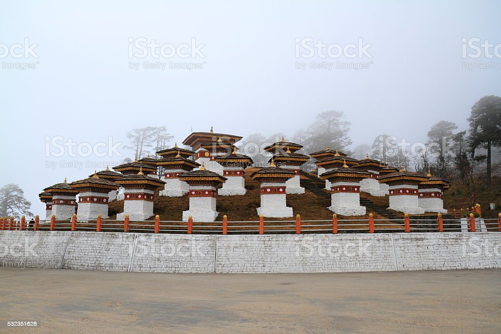 108 Stupa on Dochula Pass stock photo