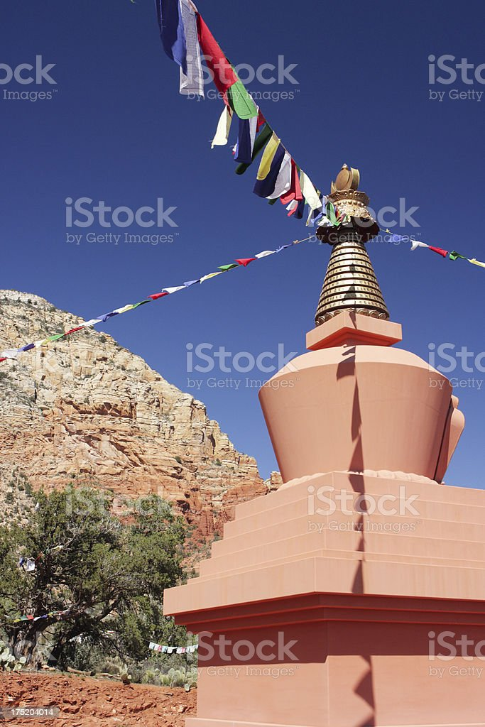 Stupa Prayer Flag Asian Shrine royalty-free stock photo