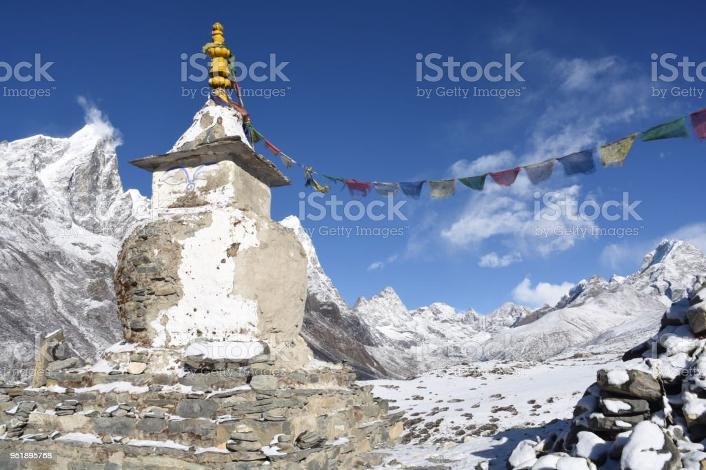 Stupa with Cholatse Peak in the background, Nepal stock photo