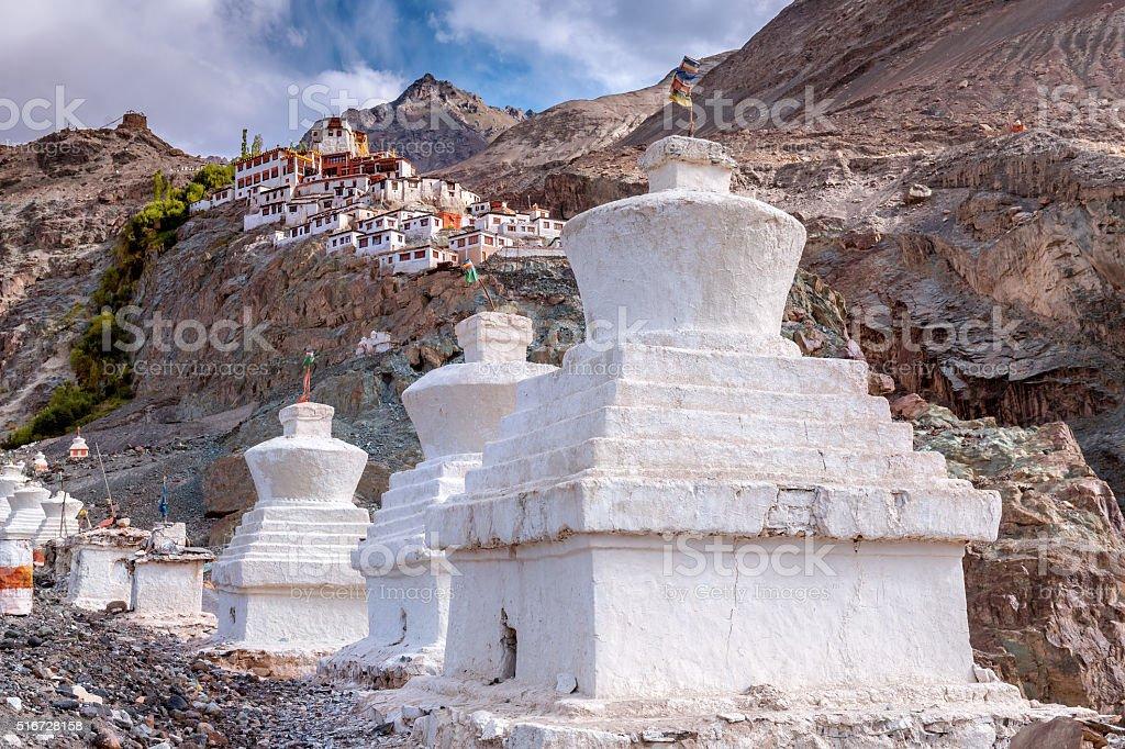 Stupas and Diskit Gompa Nubra Valley, India stock photo