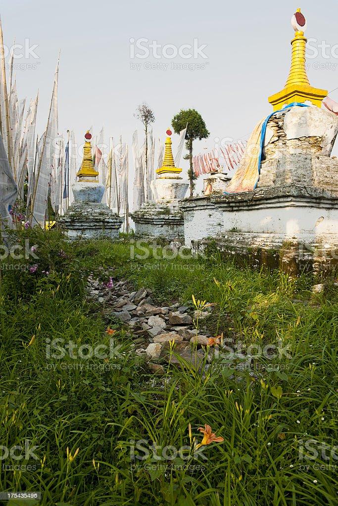 Stupas and Prayer Flags in Sangachoeling Monastery Sikkim royalty-free stock photo