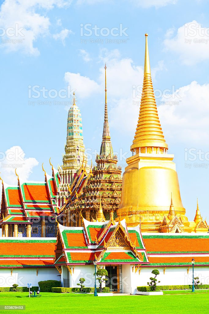 Stupas and temples of Wat Phra Kaeo stock photo