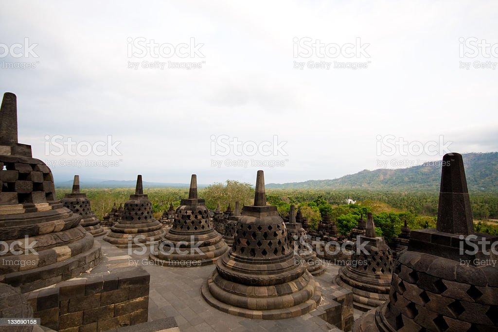 Stupas at Borobudur temple royalty-free stock photo