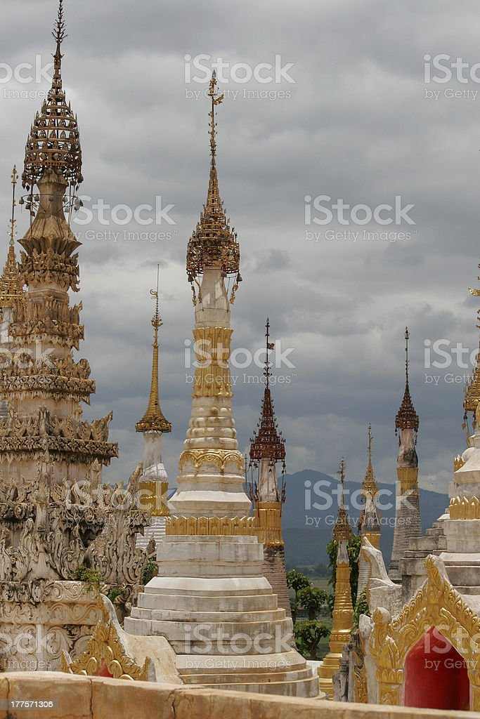 Stupas at the monastery Myanmar royalty-free stock photo