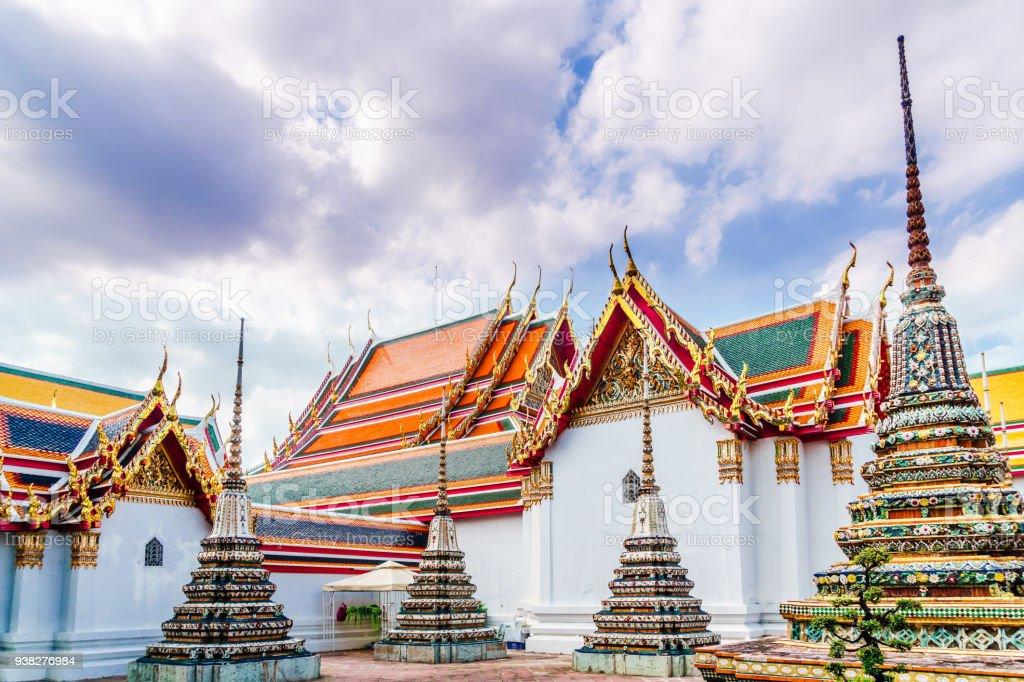 Stupas by Wat Pho in Bangkok - Thailand stock photo