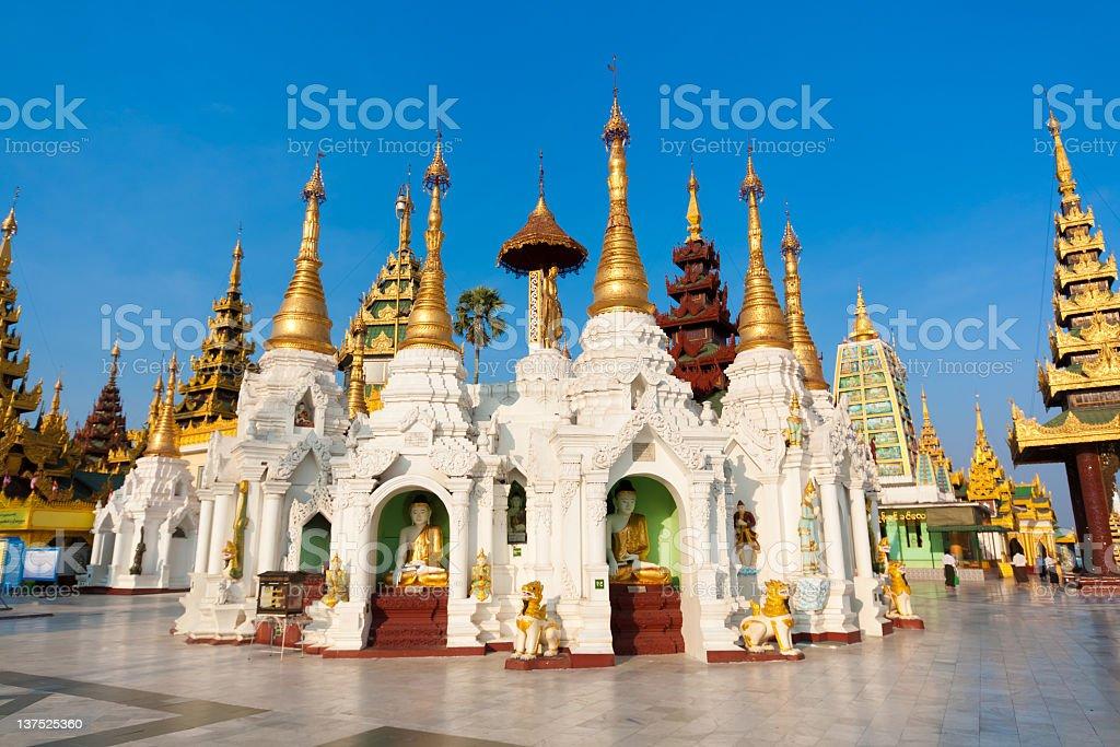 Stupas in the Shwedagon Pagoda stock photo
