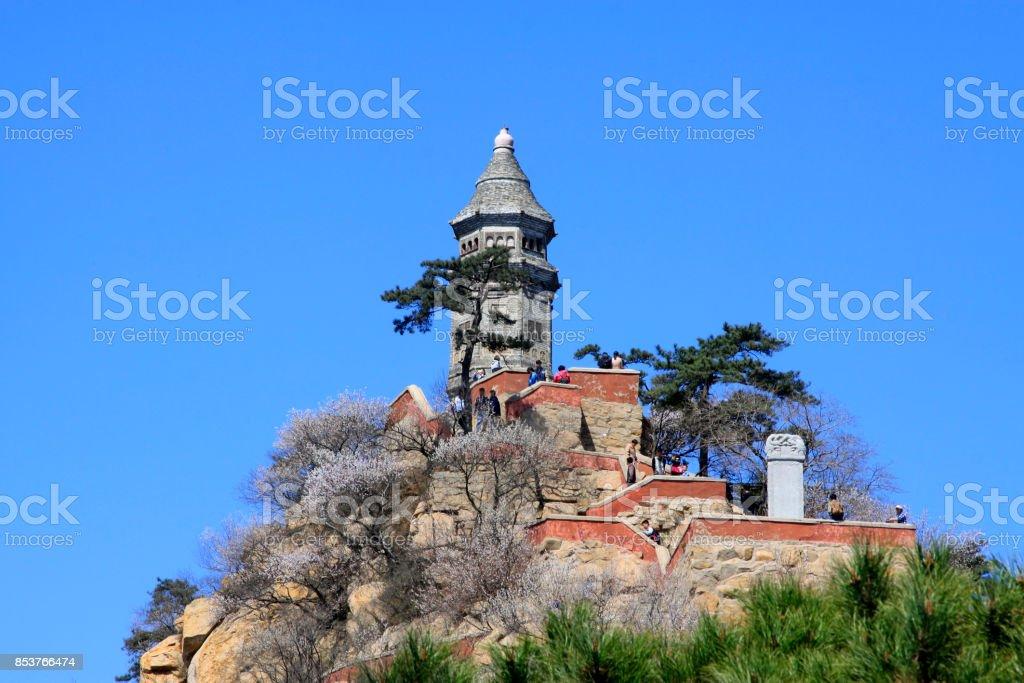 Stupas landscape architecture in Panshan Mountain scenic spot, April 5, 2014, ji county, tianjin, China stock photo