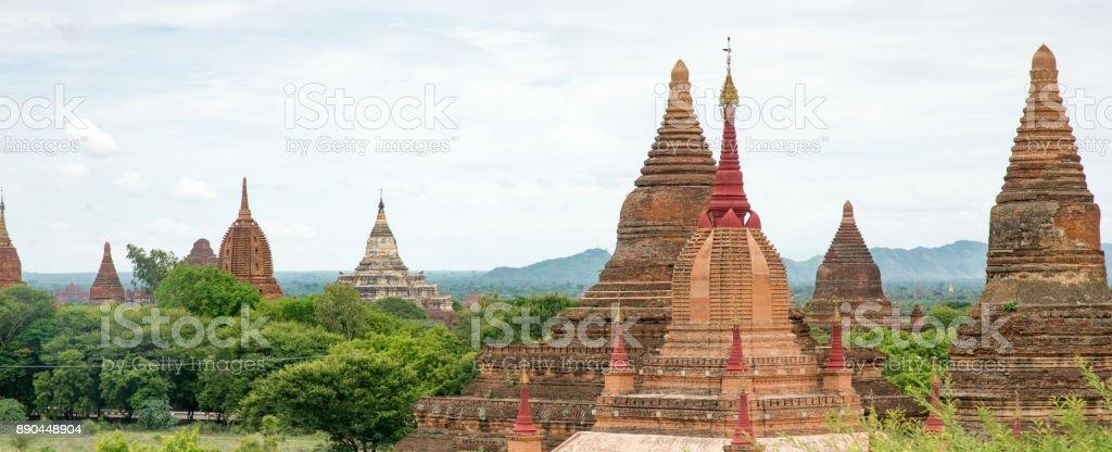 Stupas on Temples in Bagan Myanmar stock photo
