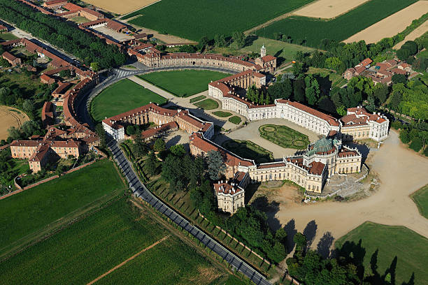 Stupinigi royal palace, aerial view of wonderful italian baroque architecture stock photo