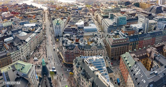 Stureplan, Stockholm city seen from above