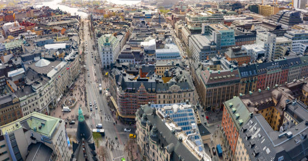 Stureplan, Stockholm city seen from above - foto stock