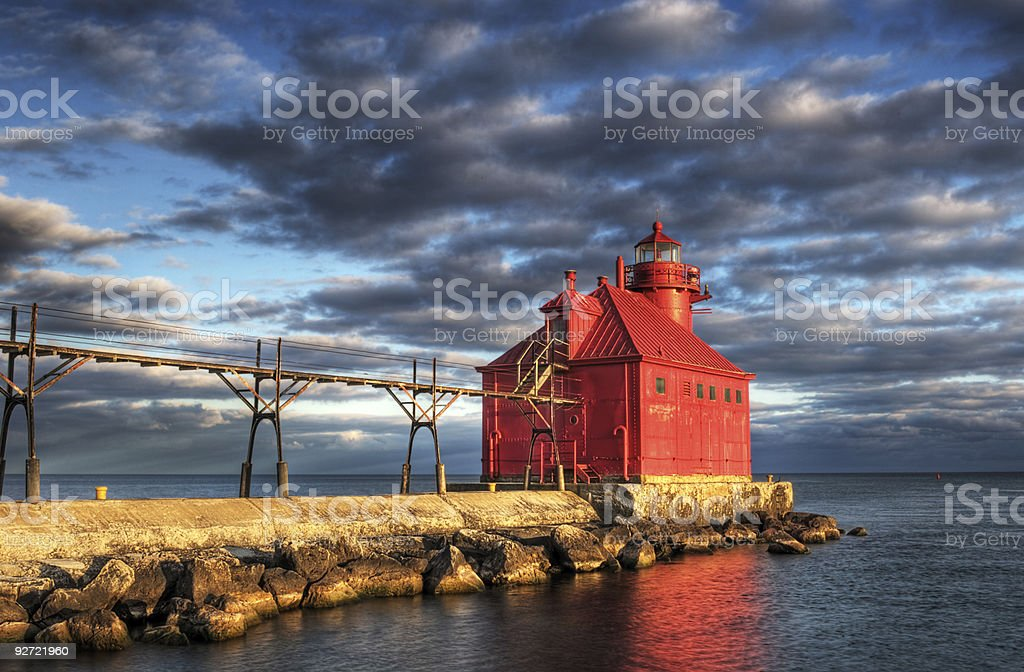Sturgeon Bay Lighthouse Reflection stock photo