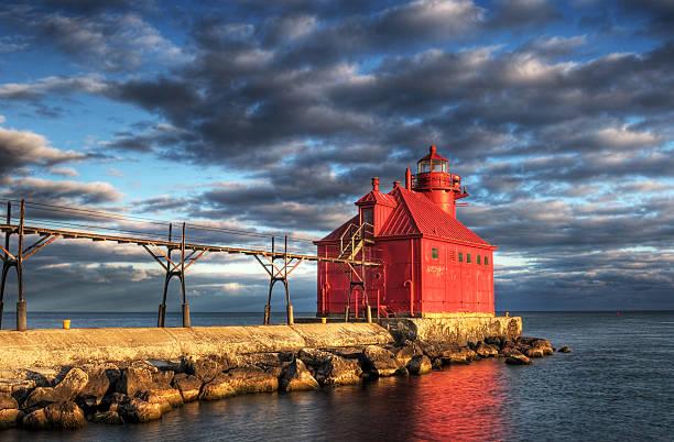 Sturgeon Bay Lighthouse Reflection stock photo