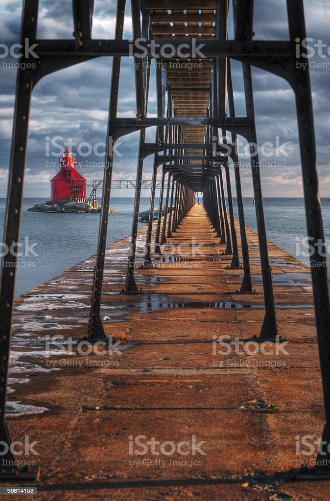 Sturgeon Bay Ship Canal Lighthouse & Walkway stock photo