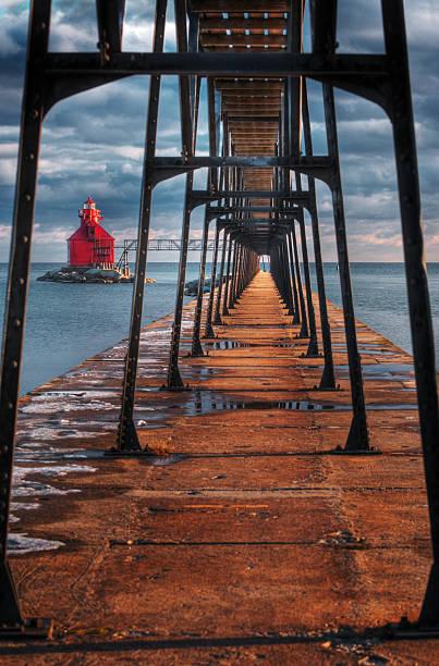 Sturgeon Bay Ship Canal Lighthouse & Walkway stock photo