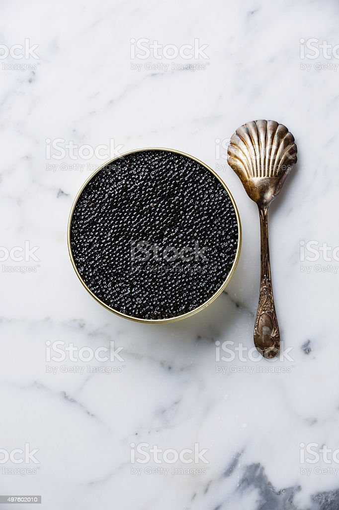 Sturgeon black caviar in can and spoon stock photo