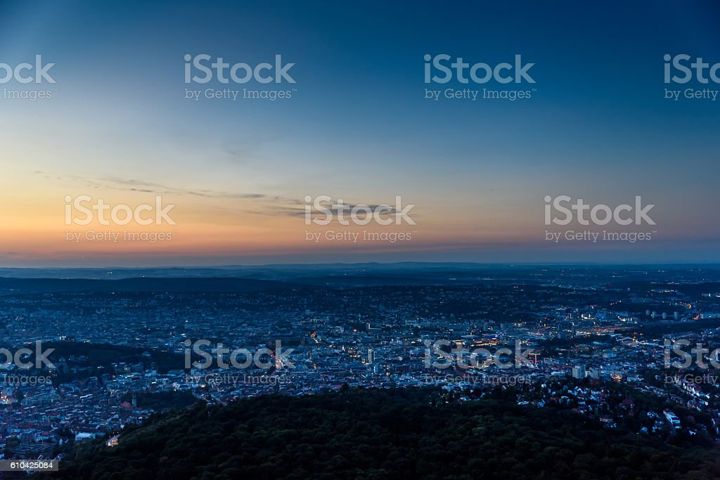 Stuttgart City at night in the summer -  Germany stock photo
