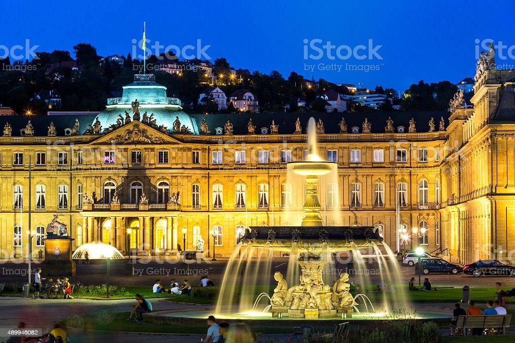 Stuttgart city center, Germany at dusk stock photo