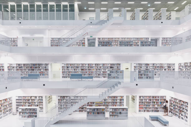 stuttgart city library - library stock photos and pictures