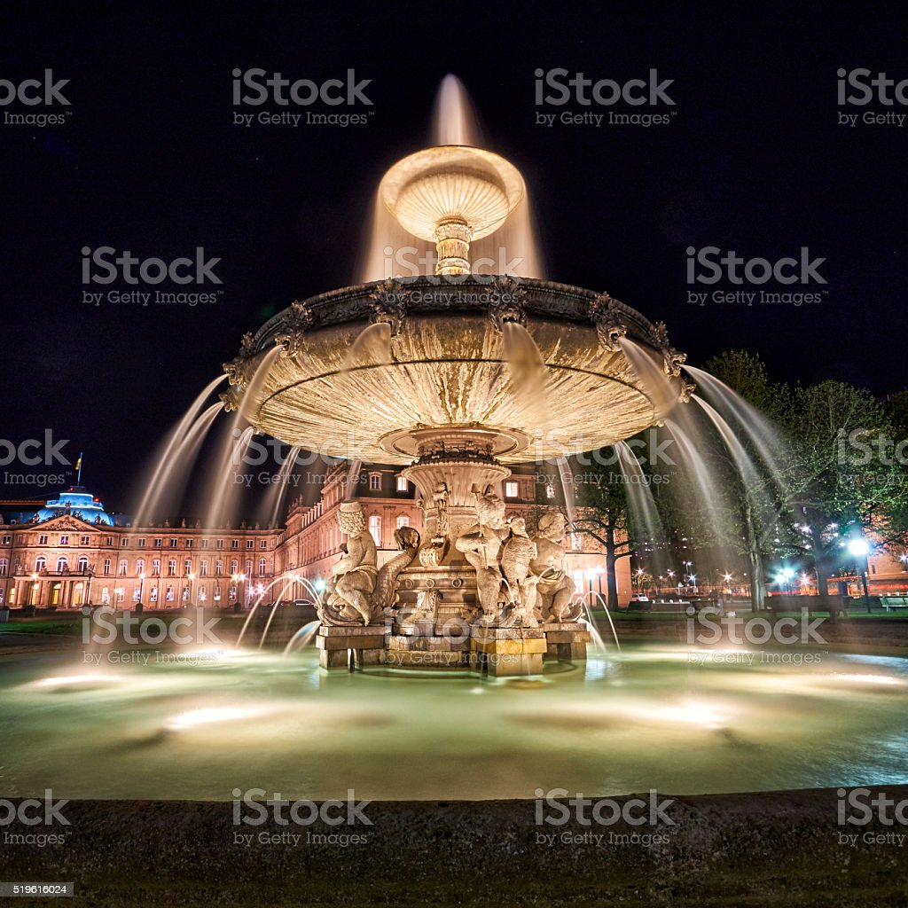 Stuttgart Fountain and New Palace at night stock photo