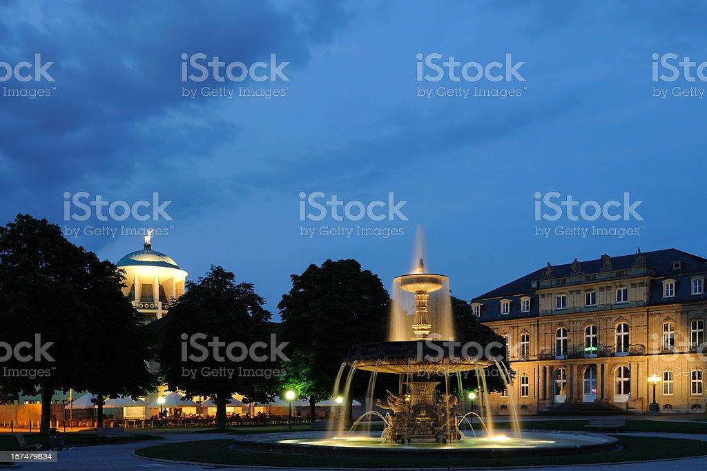 Stuttgart Illuminated New Palace with Fountain stock photo