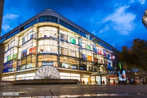 istock Stuttgart Koenigsstrasse Shopping Mall Night Time Long Exposure Tourist Afternoon Twilight October 9, 2017 860085706