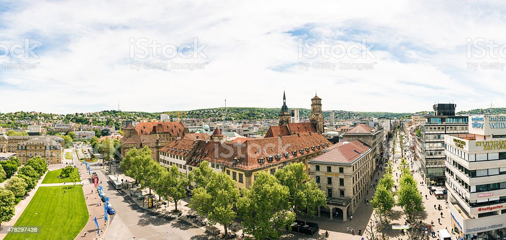 Stuttgart Koenigstrasse Panorama stock photo