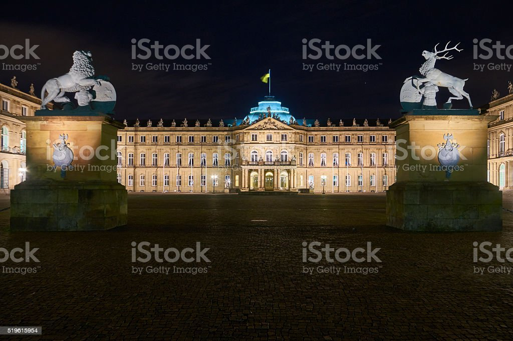 Stuttgart New Castle at night stock photo