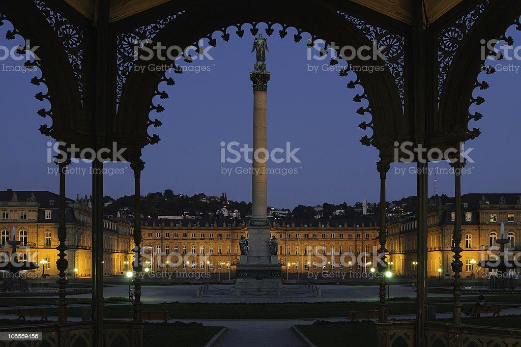 Stuttgart New Palace Schloss Pavillon View Blue Hour stock photo