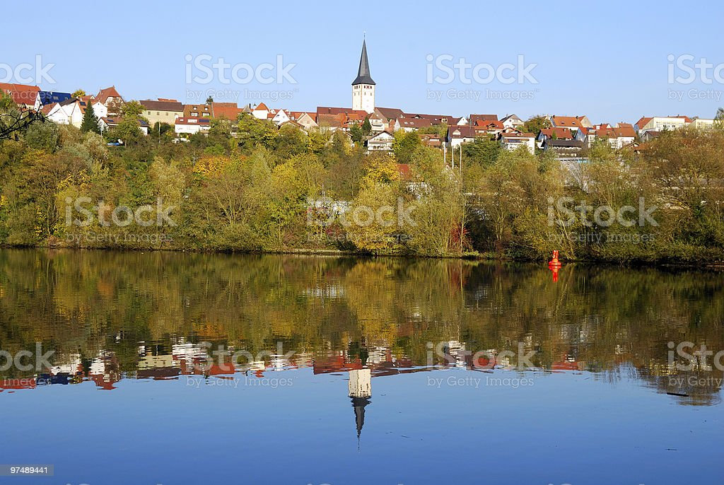 Stuttgart - Poppenweiler and its reflection in Neckar river royalty-free stock photo