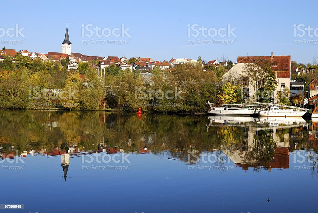 Stuttgart - Poppenweiler pier and its reflection in Neckar royalty-free stock photo