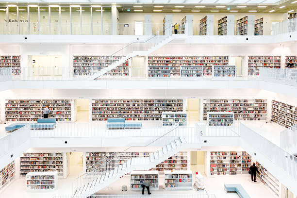 Stuttgart Public Library Central Hall stock photo