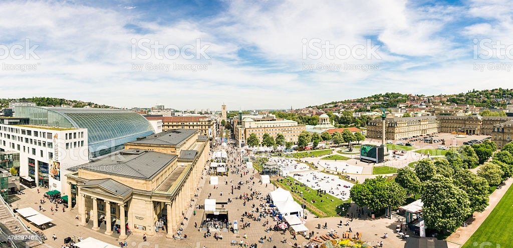 Stuttgart Schlossplatz Panorama stock photo
