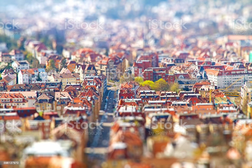 Stuttgat - Tilt shift Effect stock photo