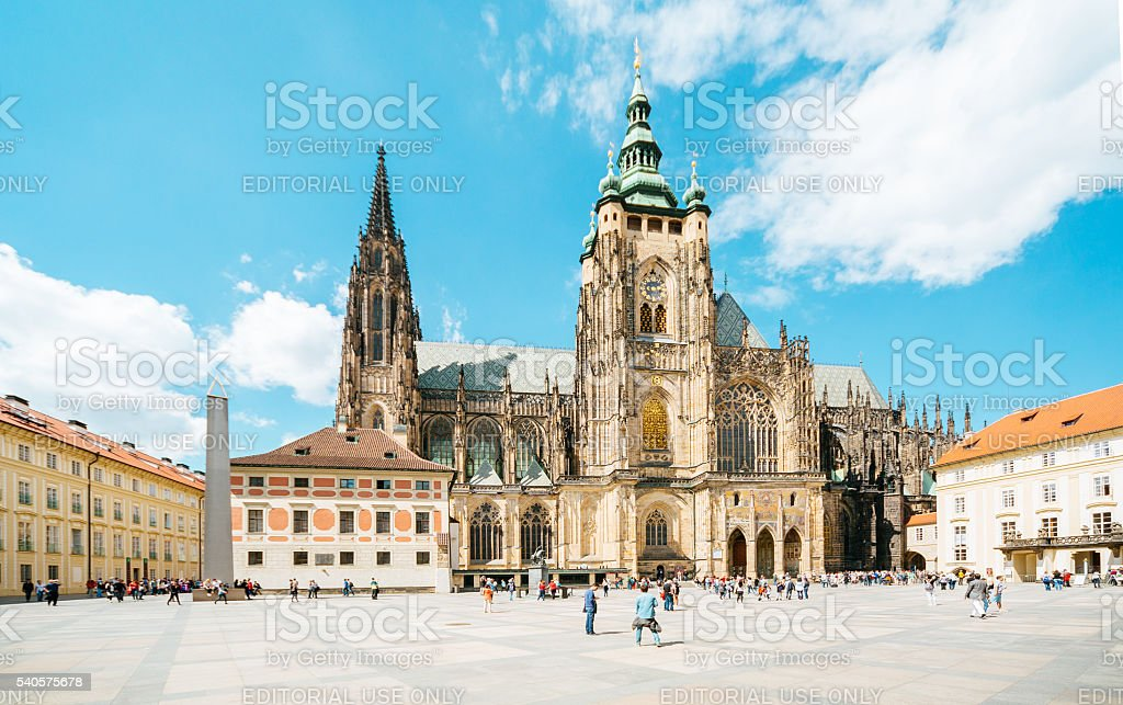 St.Vitus Cathedral in Prague castle stock photo