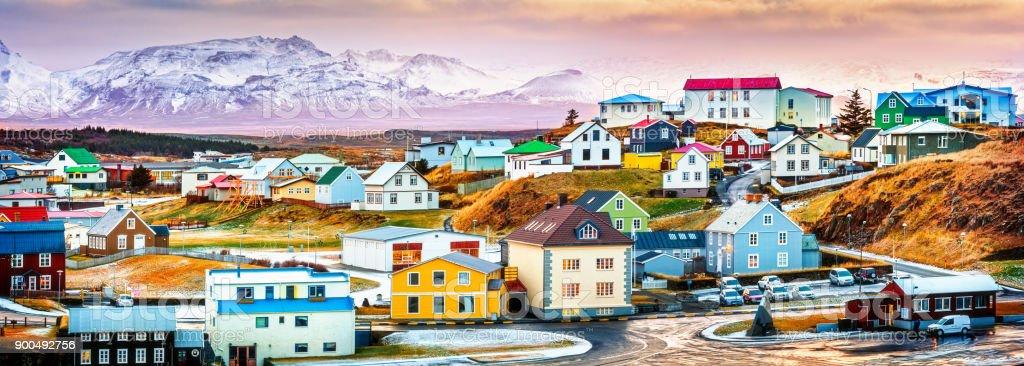 Stykkisholmur colorful icelandic houses stock photo