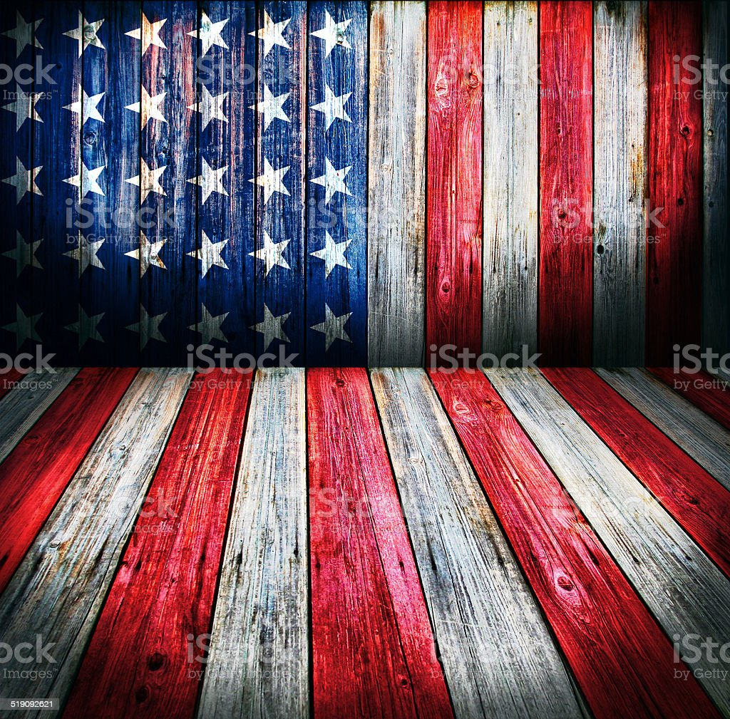 USA style background - empty wooden room stock photo