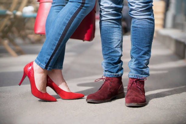 style essentials for him and her - wildleder stiefeletten stock-fotos und bilder