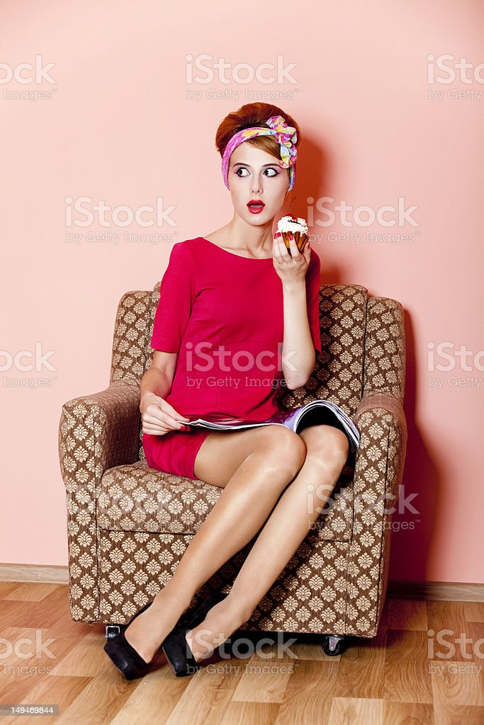 Style girl in red dress with cake stock photo