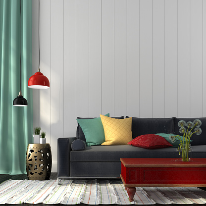 istock Style interior with dark blue sofa and a red table 500526959