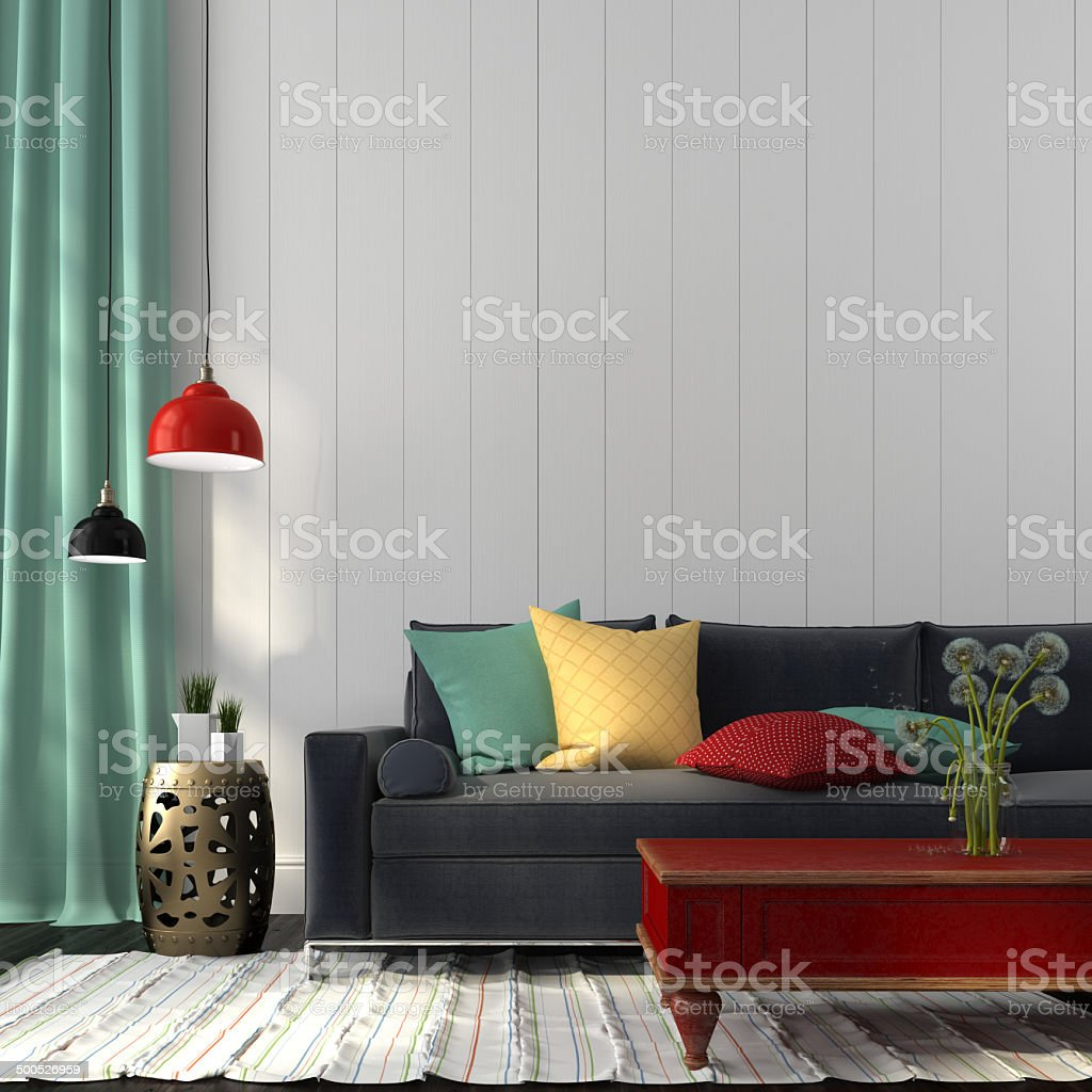 Style interior with dark blue sofa and a red table stock photo