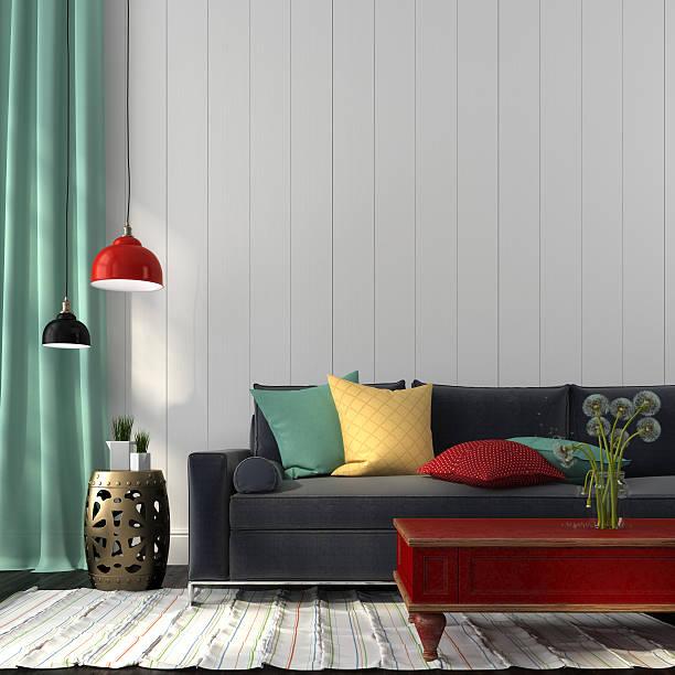 stil innenraum mit dunklen blauen sofa und ein red table - kissen grün stock-fotos und bilder