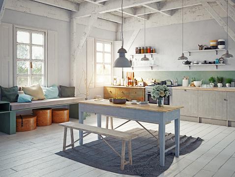 Style Kitchen Interior — стоковые фотографии и другие картинки Антиквариат