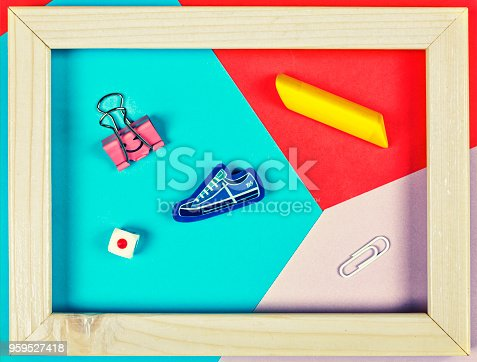 istock style minimalism. Back to school. school supplies. abstraction, education 959527418