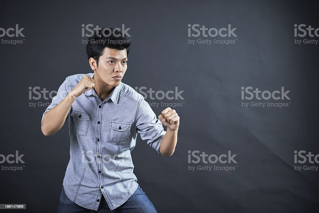 Style of fighting in the studio royalty-free stock photo