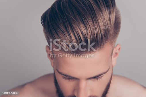 istock Style stylish therapy treatment problem concept. Cropped top above close up view photo of clean clear shiny with gel wax lotion perfect ideal groomed neat hair isolated on gray background 933399032