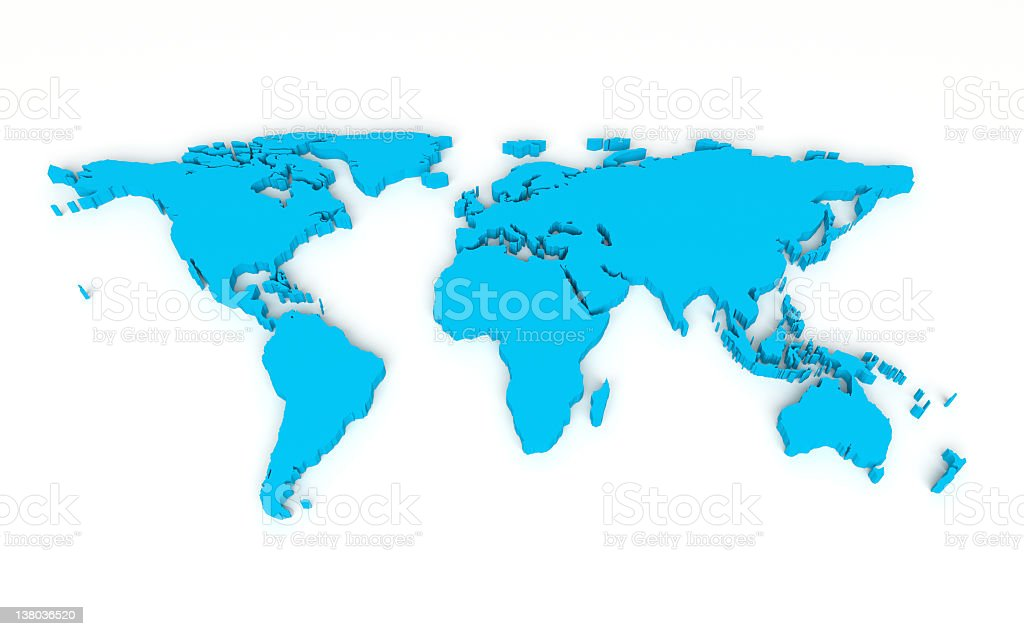 3D style world map illustration in cyan stock photo