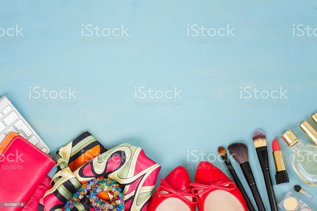 styled feminine desktop stock photo