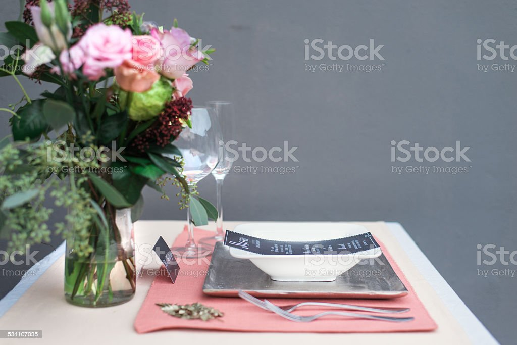 Styled Shoot Wedding Diner Table - Pink & Gold stock photo