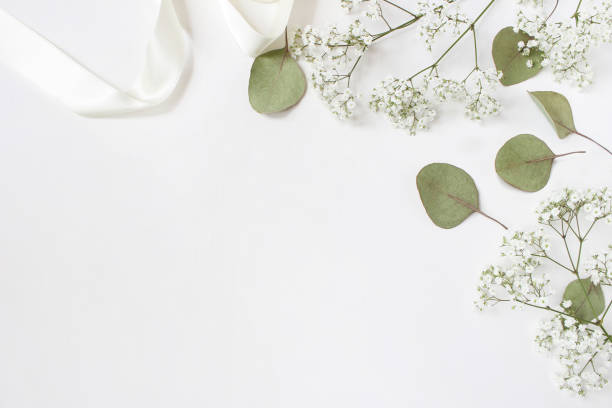 Styled stock photo. Feminine wedding desktop mockup with baby's breath Gypsophila flowers, dry green eucalyptus leaves, satin ribbon and white background. Empty space. Top view. Picture for blog stock photo